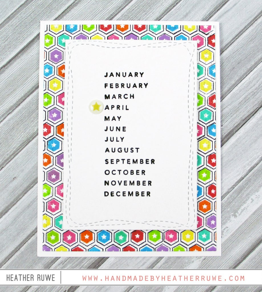 Personalized birthday month cards handmade by heather ruwe i stamped the inside of the design with coordinating images i used a variety of rainbow ink colors to create my own pattern paper jeuxipadfo Gallery